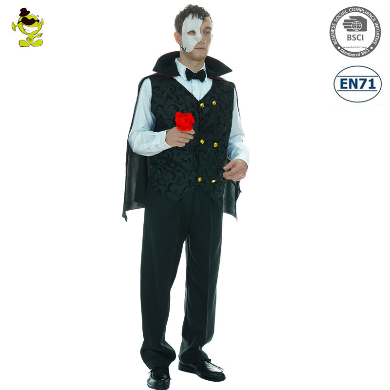 Men's Halloween Mysterious Phantom Costume Devil Halloween Cosplay Carnival Party Ghost Masquerade Costume