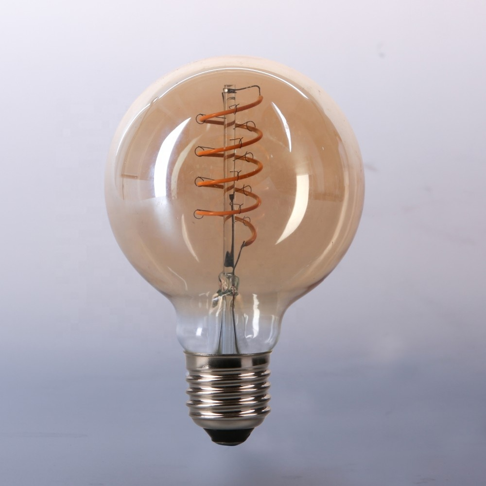 CE ROHS approved globe G80 G95 G125 4W Flexible Led Light Bulb Filament <strong>E27</strong>