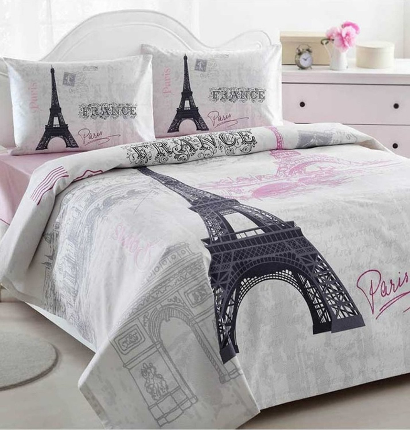 52f0fbb4e12ebc Istanbul Home Collection Paris Eiffel Tower Themed Ranforce 100% Turkish  Cotton Full Queen Size Quilt