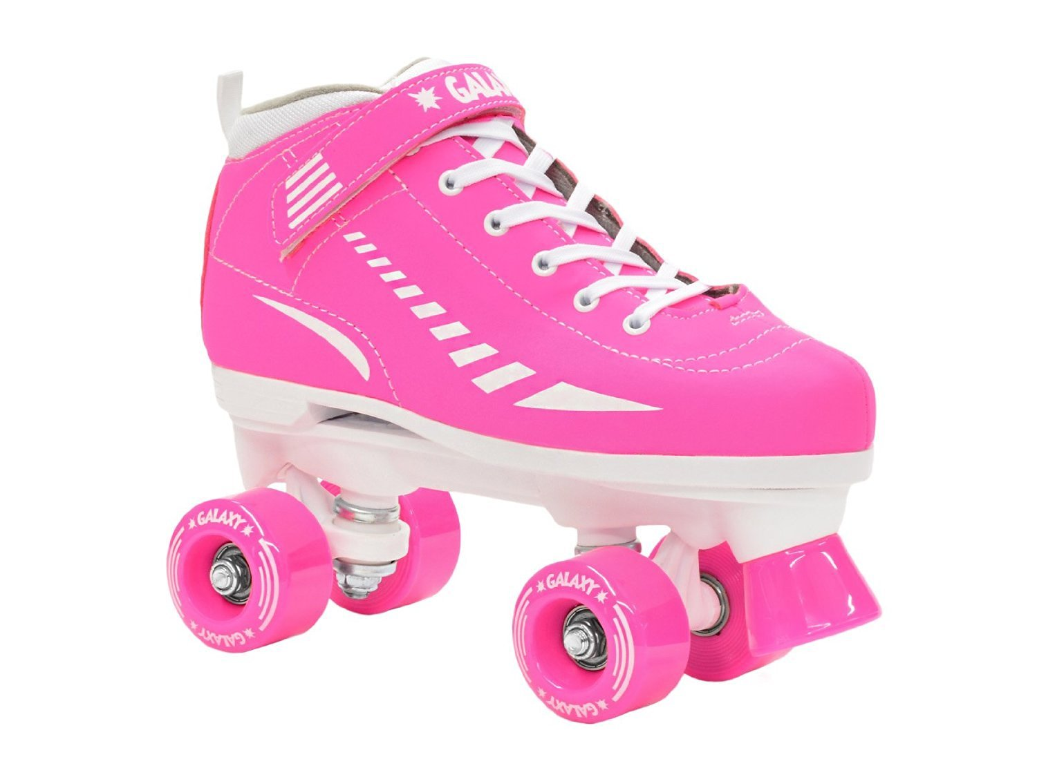 New 2015 Epic Galaxy Elite Neon Pink Indoor Outdoor Quad Roller Speed Skates w/ 2 Pair of Laces (Pink & White)