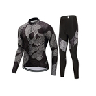 China Imported Cycling Jersey Wear Mens/Women Black Skull Jersey 5XL Cycling