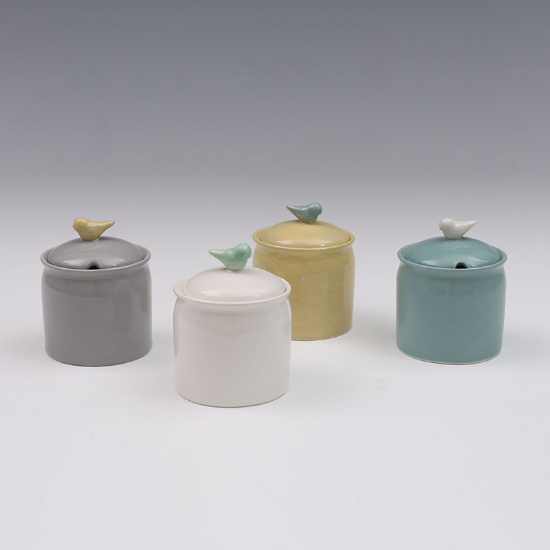 Porcelain fashionable ceramic kitchen spice jar set with lid bird shape knob