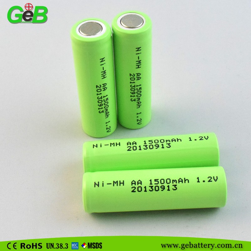 Rechargeable NiMH batteries solar AA 1.2V 1500mAh Ni-MH for power tools, electric toys, lamps
