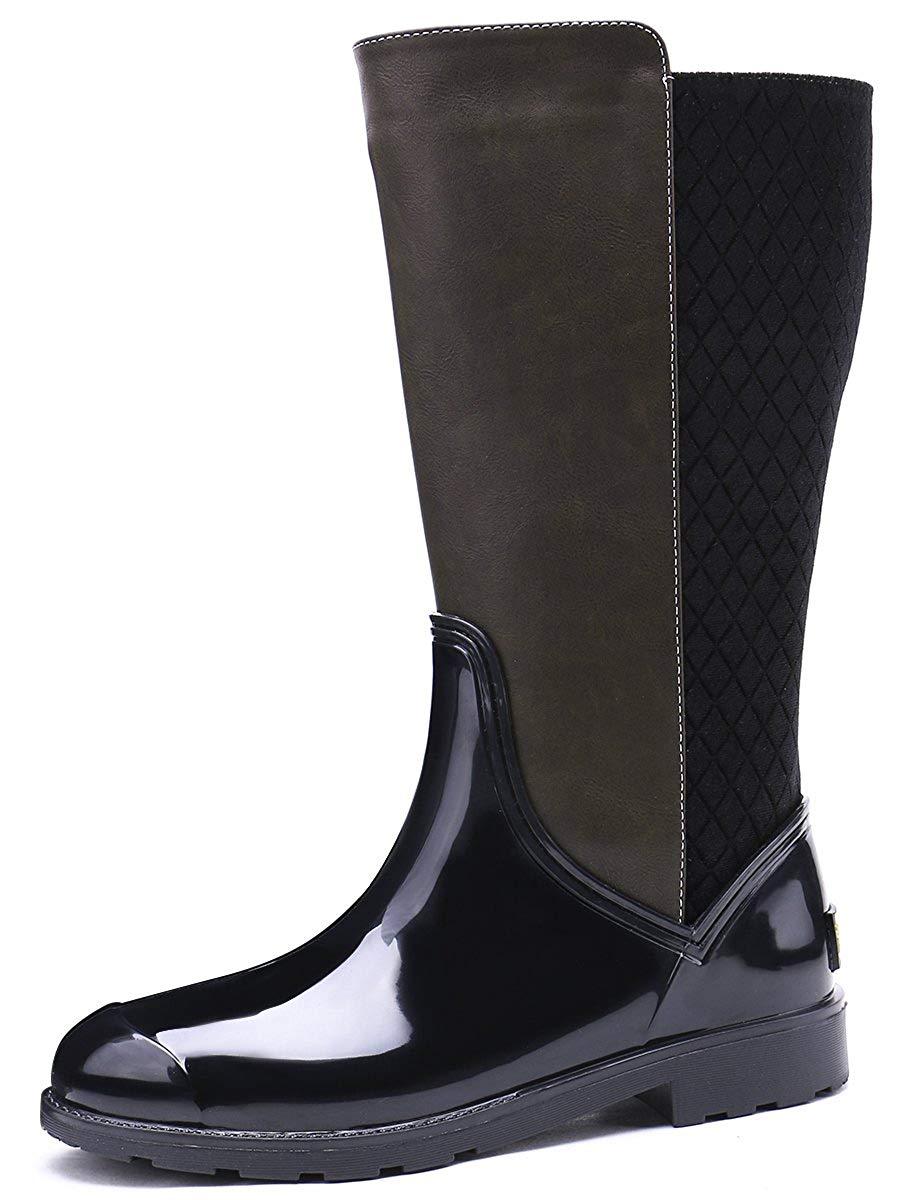 0480d5ff6177 Get Quotations · TONGPU Women s PVC PU Patchwork Rain Boots For Ladies