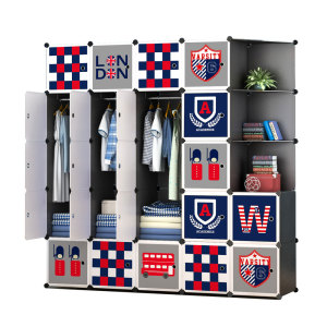 OEM Hot Selling British Style DIY Plastic Cube Wardrobe With Shoe Rack For Bedroom Living Cloth Storage Foldable