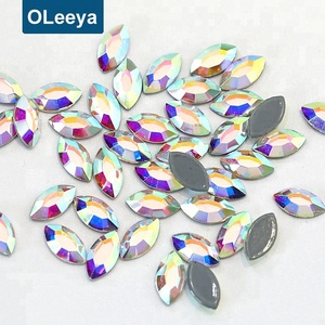 Wholesale high quality crystal ab navette fancy shape hot fix rhinestones flat back iron on stones for garment accessories