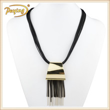 Indian statement fashion jewelry necklace chain tassel stainless steel quadrilateral pendent multilayer lariat bib necklace
