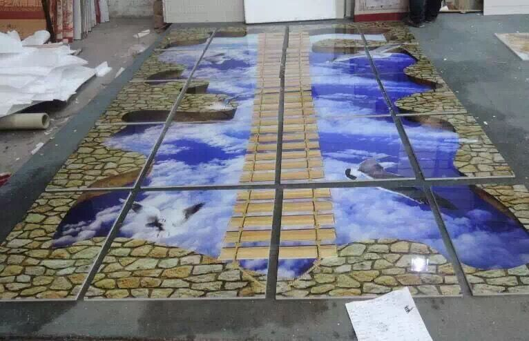 Foshan 3d floor art factory price inhabit 3d wall tiles for Epoxy boden 3d