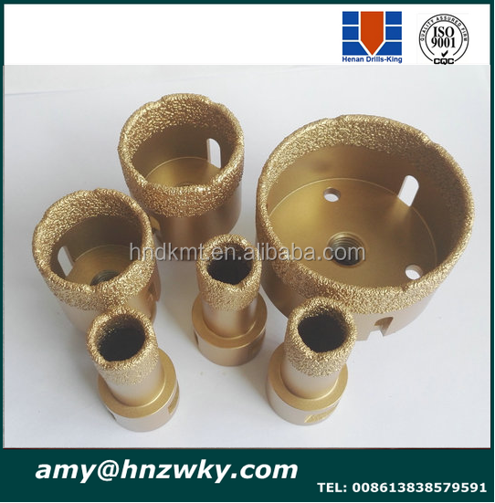 Vacuum Brazed gold diamond core drill bit for Stone <strong>Drilling</strong>, Core Drill Bit for Granite Marble