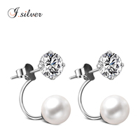 wholesale 925 sterling silver fashion pearl ball cz stud earring jewelry E10139