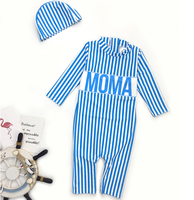 Fashion Baby Swimwear Boys Girls Striated Long Sleeve Sun Protection One Piece Zip Sunsuit For 1-7T