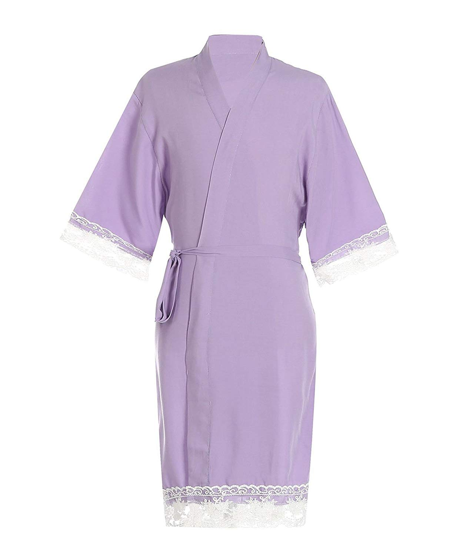 ed0588ede8 Get Quotations · FCTREE Little Girl s Cotton Robe Bathrobe Pajamas  Sleepwear Kids Kimono with Lace Trim for Party Wedding