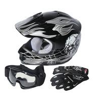 Youth Black/Silver Skull Bike Motocross Helmet Goggles+gloves+Interphone S M L