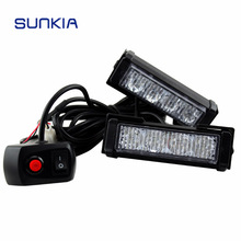 Security Car Strobe Light Red Blue Amber LED Warning Light With Flash Mode Emergency Vehicle Truck Light