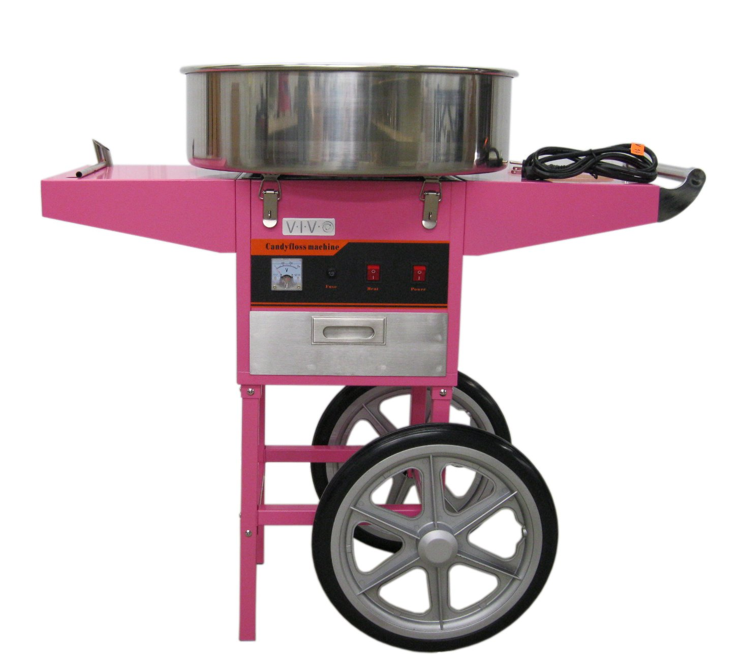 Electric Commercial Cotton Candy Machine/Candy Floss Maker Pink Cart Stand VIVO (CANDY-V002)