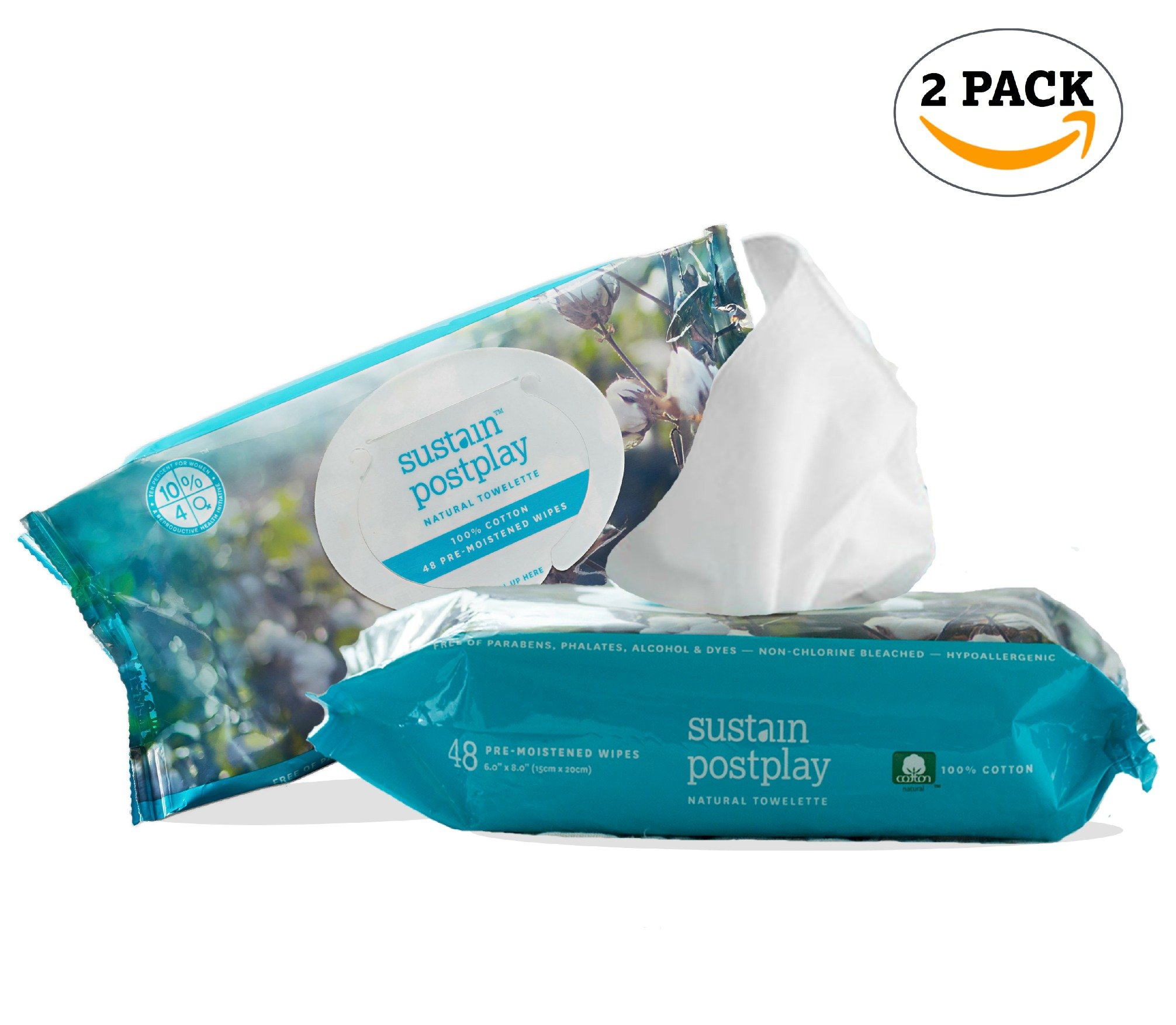 Sustain 2-Pack, (48 count ea.) Pre & Post Play All Natural Wipes with Organic Ingredients. Non-Toxic, 100% Cotton, Feminine Wipes. Moist personal wipes for hygiene, after gym and intimate experience.