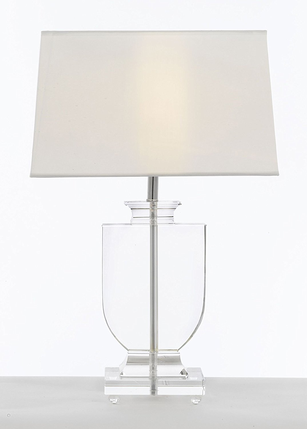 Crystal Urn Table Lamp with White Shade Modern Glass Contemporary Modern Lamp Desk,Bedside,Living Room,For Bedroom,Buffet