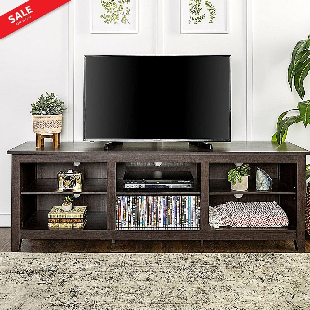 """BS Tv Console Table with Storage Adjustable Shelves 70"""" Entertainment Center Multimedia Organizer Furniture TV Cabinet Sleek Contemporary Ample Storage Cable Management - Espresso eBook by BADA shop"""