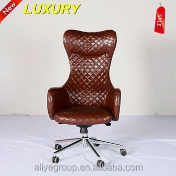 AAS019 Quality Chesterfield En Cuir Noir Boutonne Capitaines Chaise De Bureau Pivotante
