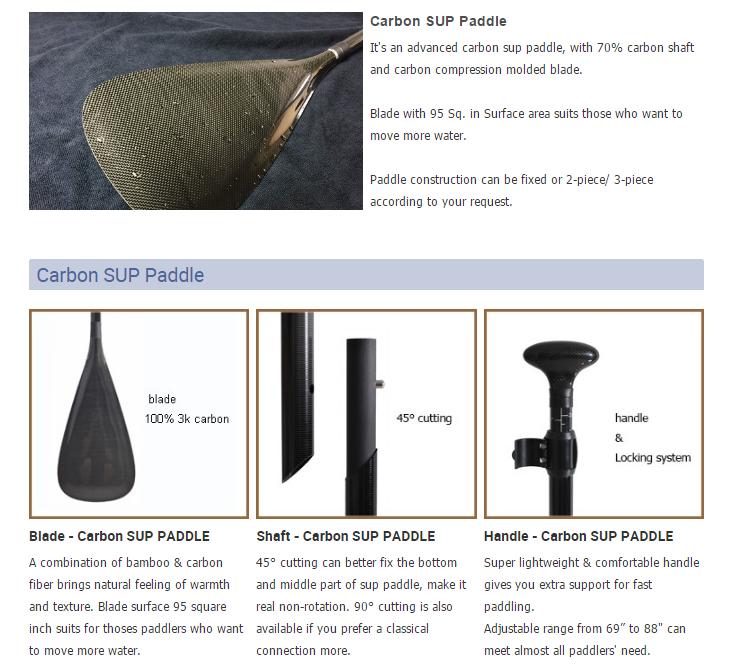 2018 Duurzaam Afneembare Carbon Fiber Epoxy Carbon Sup Paddle
