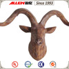 "9.1"" resin wood finish goat head with curled horn wall mount"