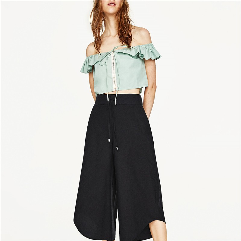 b0885169f2 Cordón culottes asimétrico pantalones mujeres negro pantalones de vestir