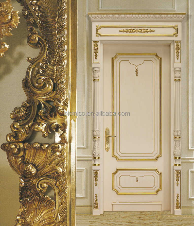 European Style Wood Framed Decorative Entrance Door With Gold Leaf Noble Palace Style White Solid & European Style Wood Framed Decorative Entrance Door With Gold Leaf ...