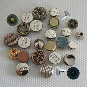 Custom made metal jeans denim logo color znic alloy brass decorative buttons rivets studs for leather clothing jeans garment