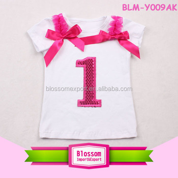 2017 Latest Design Girls Top Sequin Number Short Sleeve Kids First Birthday T Shirt For