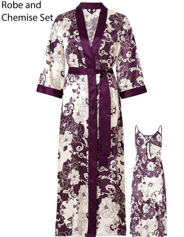 Get Quotations · Slenderella Gaspe Purple Oriental Floral Print 49