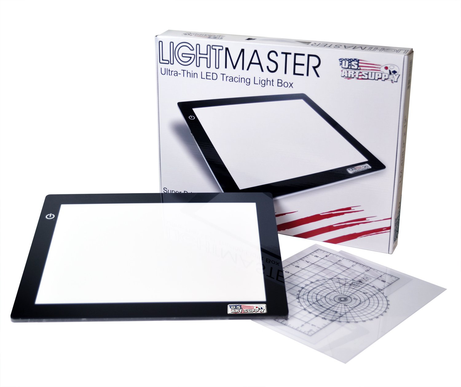 "US ART SUPPLY Lightmaster USB Powered 18.75"" Diagonal Professional Artist Size (A4) 9""x12"" LED Lightbox Board - 5-Volt Light Bright Ultra-Thin 3/8"" Profile L.E.D. Light Box Pad with 110V AC Power Adapter, USB Adapter to Power From any USB Port, Computer or Wall Plug. Now Includes for FREE: 1"