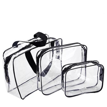 Custom large capacity 3pcs set travel wash transparent pvc cosmetic bag