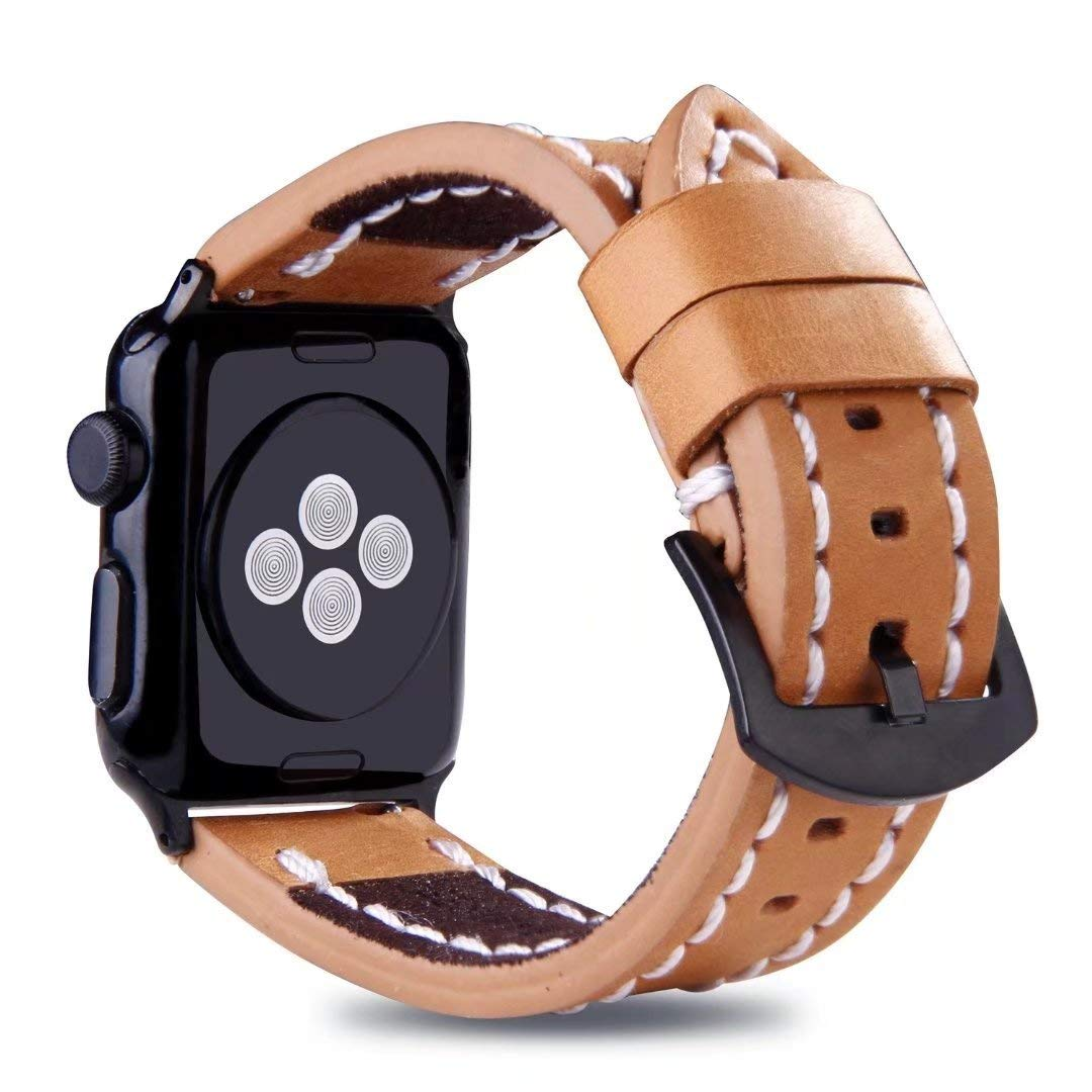 For Apple Watch Strap 42mm, Handmade Stitched Edges Leather Band Vintage Wristband with Black Buckle for 42mm Apple Watch Series 3/2/1 (Brown)