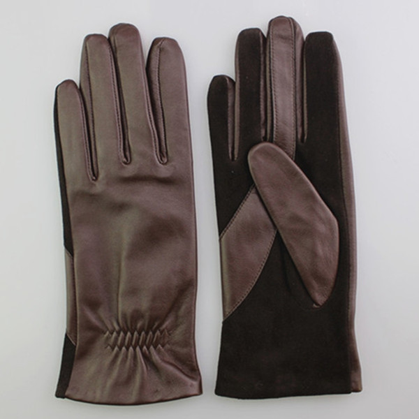 Fashion Lady Leather Gloves with suede palm for lady