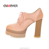 Wholesale 2016 latest chunky-heel spring shoes leather stack heel fashion women shoes cheap laser lady shoes with shoelace