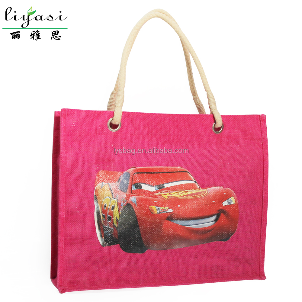 3D Logo Heat Transfer Printing with Cotton Rope Handle Jute Bag for Shopping