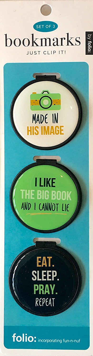 Just Clip it! Quote Bookmarks - (Set of 3 clip over the page markers) - MADE in his IMAGE, I LIKE the BIG Book, EAT, SLEEP, PRAY