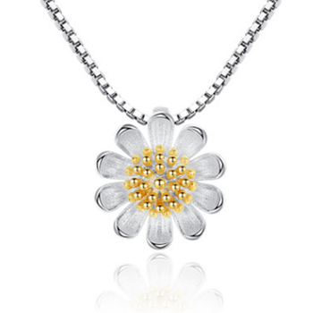 Handmade Daisy Flower Pendant Silver Necklace Blossom Jewelry from China Source Gold Supplier Low MOQ