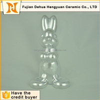 animal shaped ceramic craft,ceramic rabbit for easter decoration