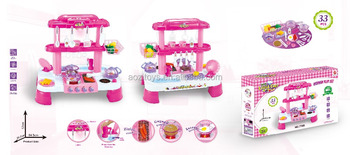 33Pcs Little Chef Kitchen Play Set Cooking Set Kitcheen Series Toys Real Water with Sound and Light Pink