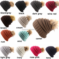 2016 New Design 13 Colors Fur Ball CC Beanie Super Soft Acrylic Women's Cosy Winter Hats for Wholesale