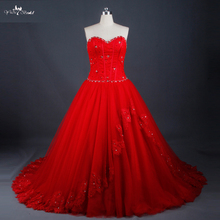 LZ171 Rosso <span class=keywords><strong>Abito</strong></span> <span class=keywords><strong>Da</strong></span> <span class=keywords><strong>Sposa</strong></span> In Pizzo Su Indietro Con Perline Graceful Ball Gown
