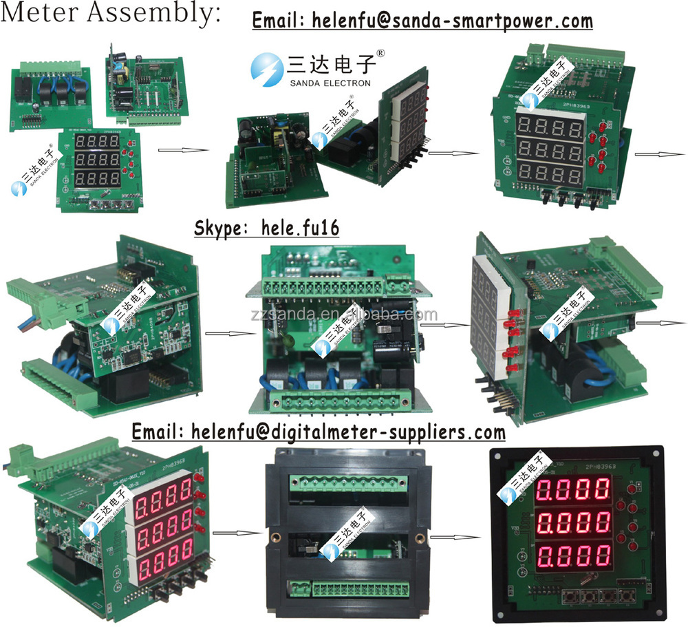 Red Led Digital Display 3 Phase Ac/dc Ammeter With Large Size 120 ...