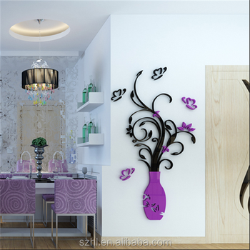 custom made family flower wall decals,large mural acrylic wall