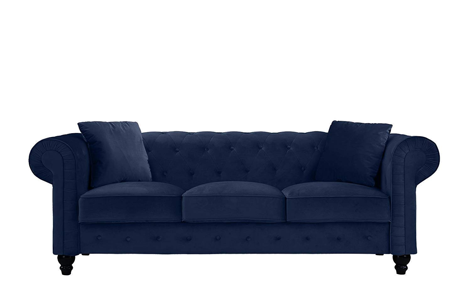 Ultra Soft and Comfortable Sofa Chesterfield Style Large Roma Furniture Classic Velvet Scroll Arm Tufted Buttom Sofa Upholstery (Blue)