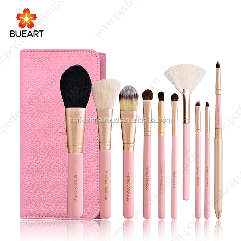 10 stks roze kleur private label cosmetica make up borstel set professionele