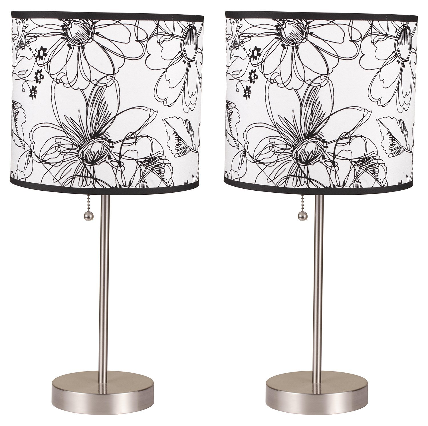 Milton Greens Stars A8312AT-S Ruslana Contemporary Table Lamp with Flower Print, 18.5-Inch, Set of 2