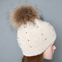Factory price crochet fur poms women hats for winter from China