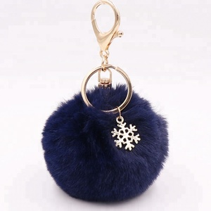 faux rex rabbit Fur chains keychain hotsale pompoms key with metal logo plate for woman bag charm