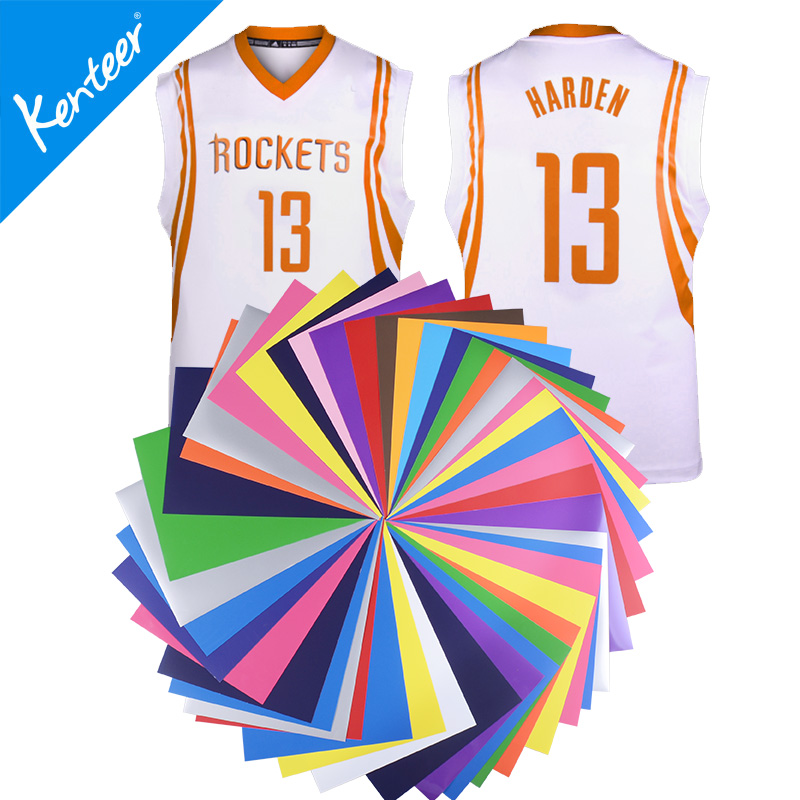 "Kenteer wholesale 22 colors a4 /10""*12"" / 12""*12"" / 12""*15"" size pu heat transfer film/vinyl sheets for basketball jersey"